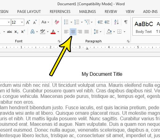 center document title in word 2013
