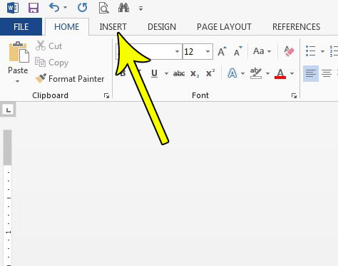 word 2013 click the insert tab