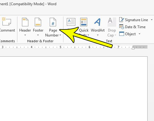page numbers at bottom of page in word 2013