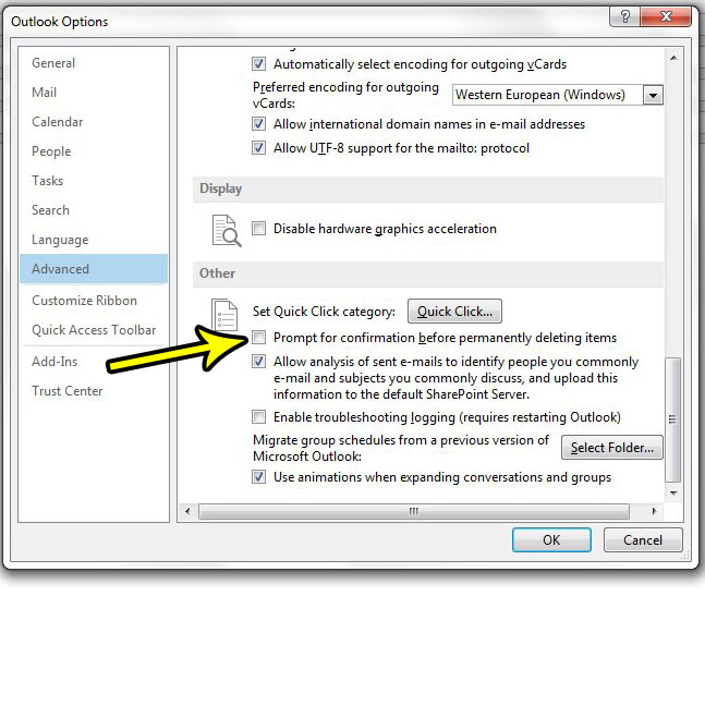 how to stop outlook from promoting before deleting in outlook 2013