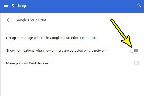 how to stop google cloud print notifications for new network printers