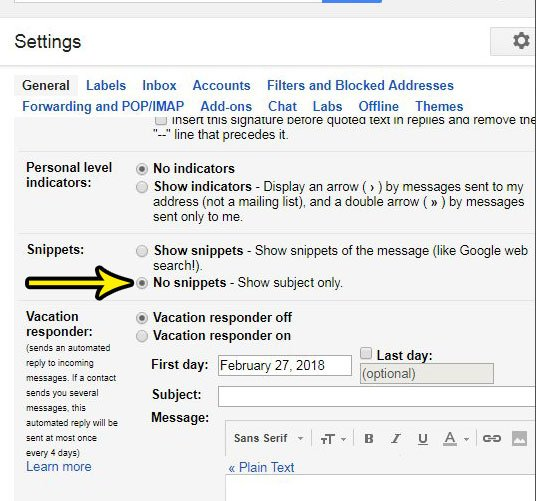 how to stop showing email previews in gmail
