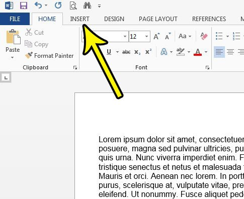 click the word 2013 insert tab