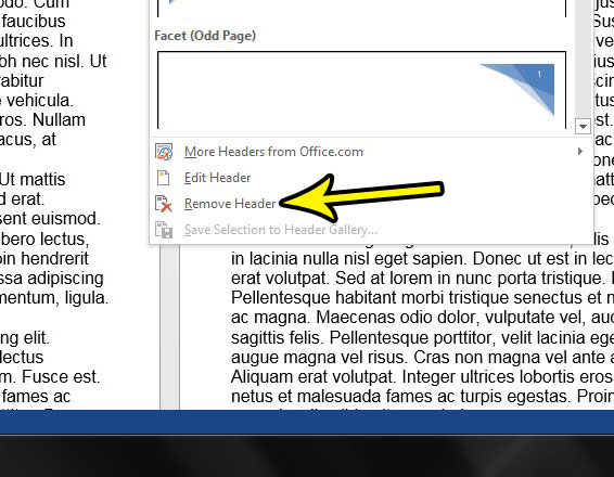 how to delete all of the information from the header in word 2013