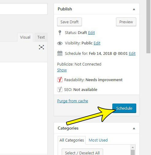 how to schedule a post in wordpress