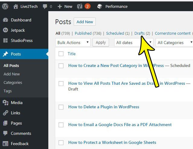 filter post drafts in wordpress