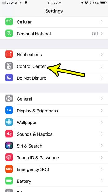 iphone control center menu