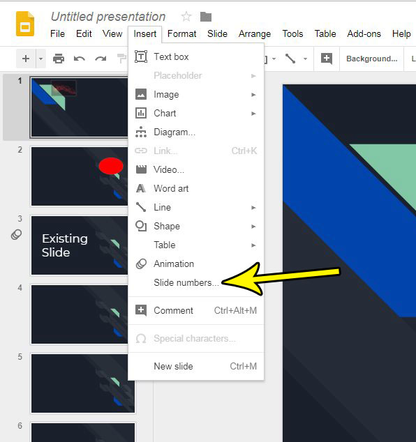 how to put page numbers on slides in google slides