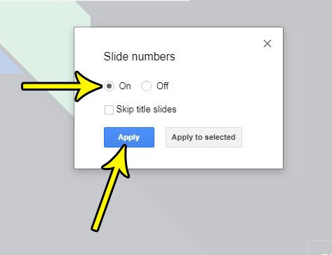 how to add slide numbers in google slides