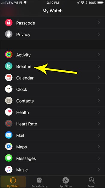 open the breathe app menu