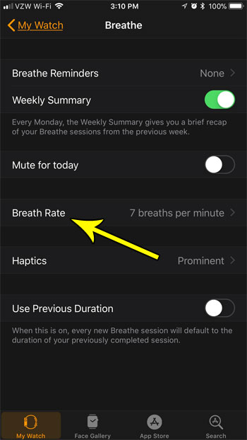 adjust the apple watch breathe rate setting