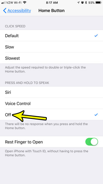how to stop anything from happening when you press and hold the home button on iphone