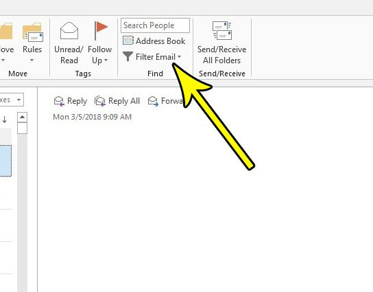 outlook 2013 only show emails with attachments