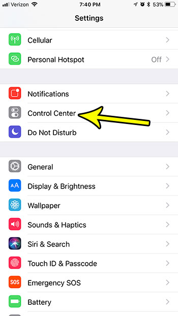 ios 11 control center menu