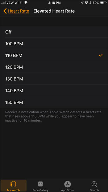 how to set elevated heart rate notification apple watch