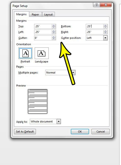how to set a smaller margin in word 2013