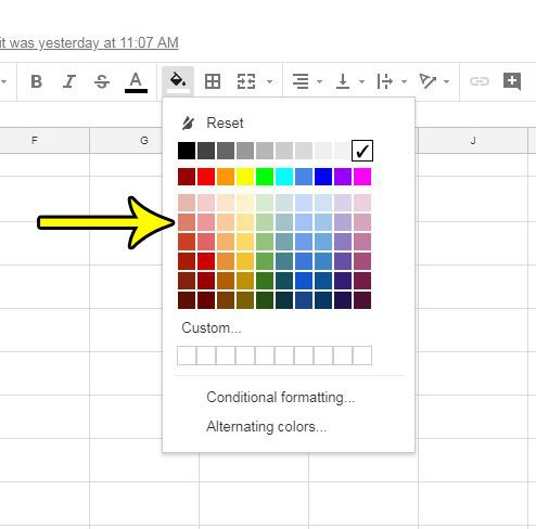 how to add color to cells in google sheets