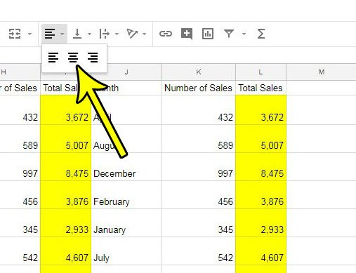 how center data horizontally google sheets