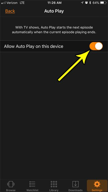 how change auto play prime video iphone