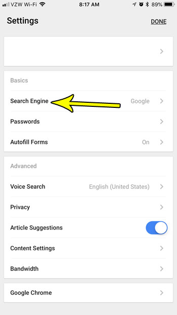 chrome iphone default search engine