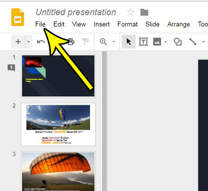 open the google slides file menu
