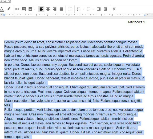 quickly apply a different font to whole document in google docs