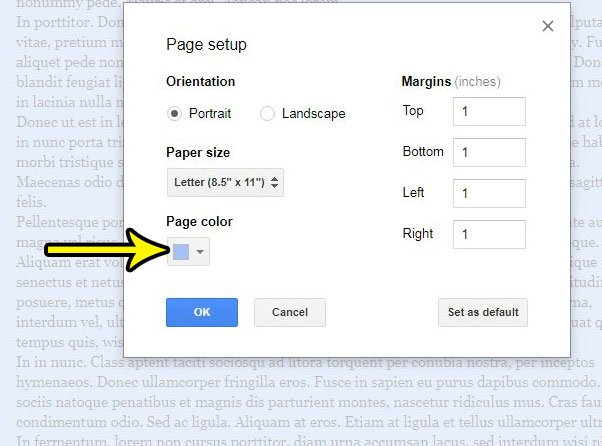 switch the color of the google docs page