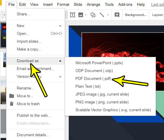 how to convert google slides to pdf
