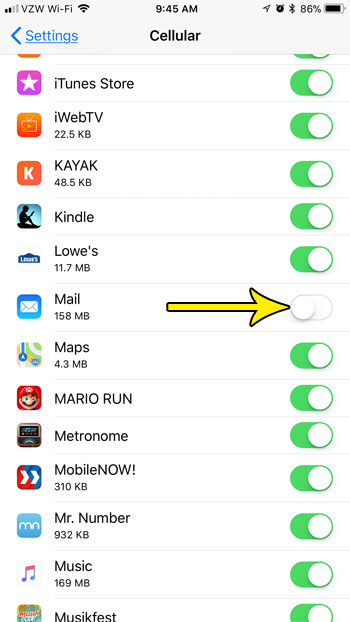how disable cellular data usage for mail on iphone