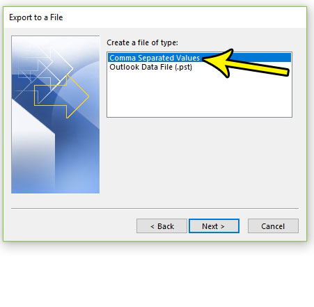 create csv of exported outlook 2016 contacts