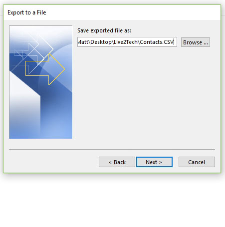 create a name and location for exported outlook 2016 contacts
