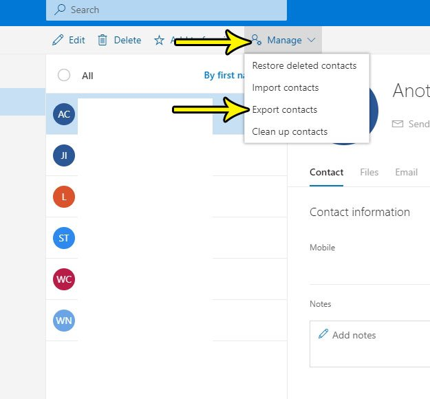 outlook.com contact export