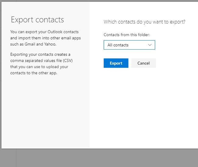 how to export outlook.com contacts