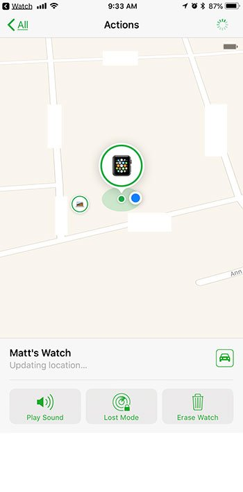 how find lost apple watch with iphone
