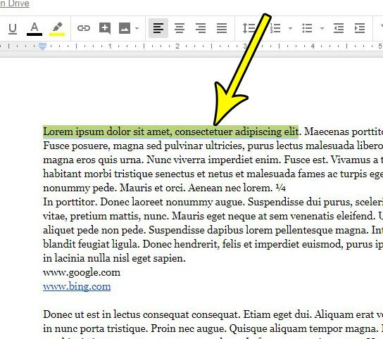select text google docs clear highlighting