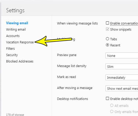 yahoo mail out of office reply