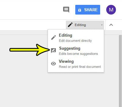 how to switch between editing and suggesting mode in google docs