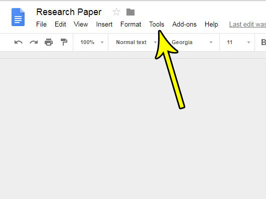 open the google docs tools menu