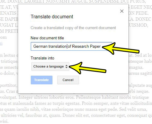 google docs translate to different language