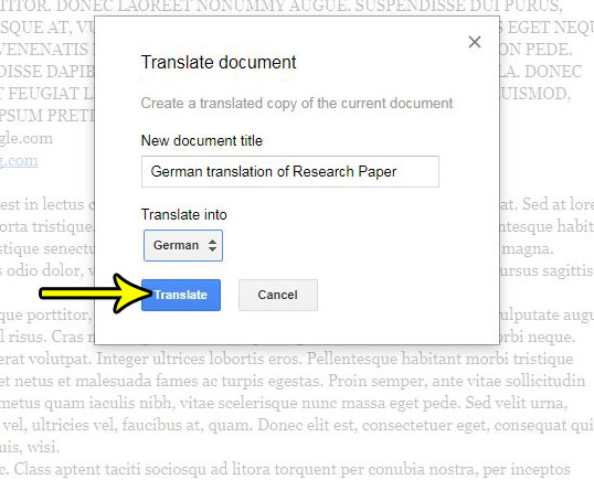 how translate document google docs