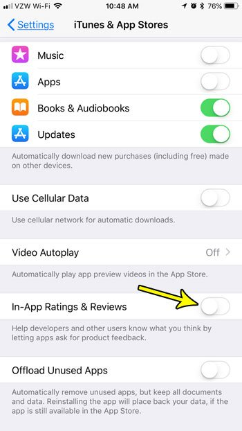 how turn off in app reviews iphone
