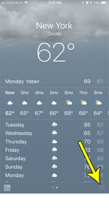 iphone weather app menu