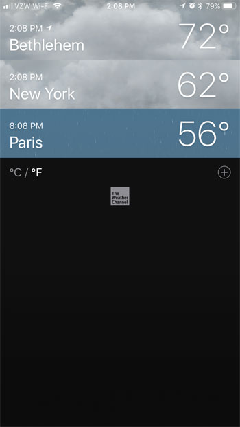 additional cities in iphone weather app