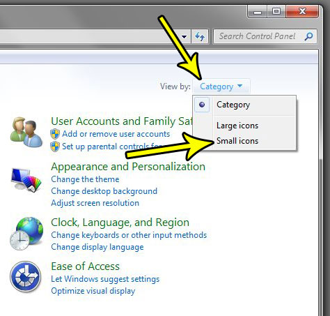change icon display windows 7 control panel