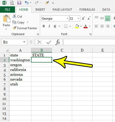 select cell for uppercase text excel 2013