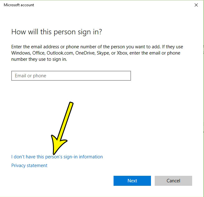 dont have sign in information for windows 10 account