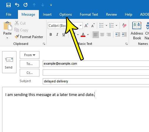 outlook send message later