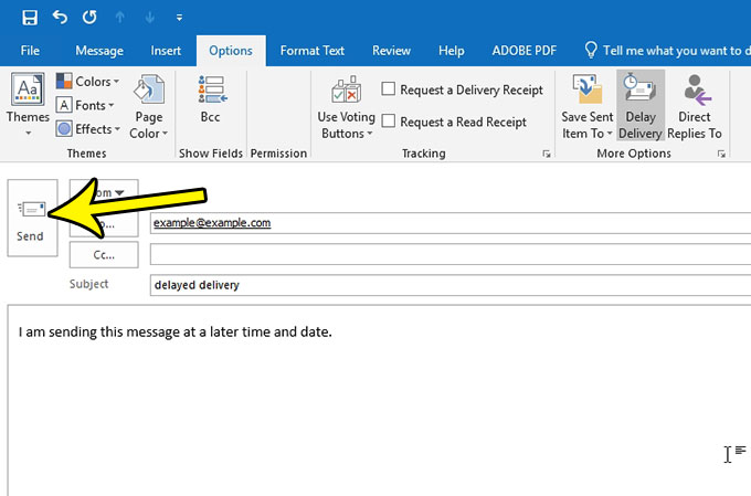 how to send an email in the future with outlook