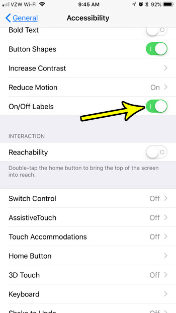 how enable on off labels iphone 7