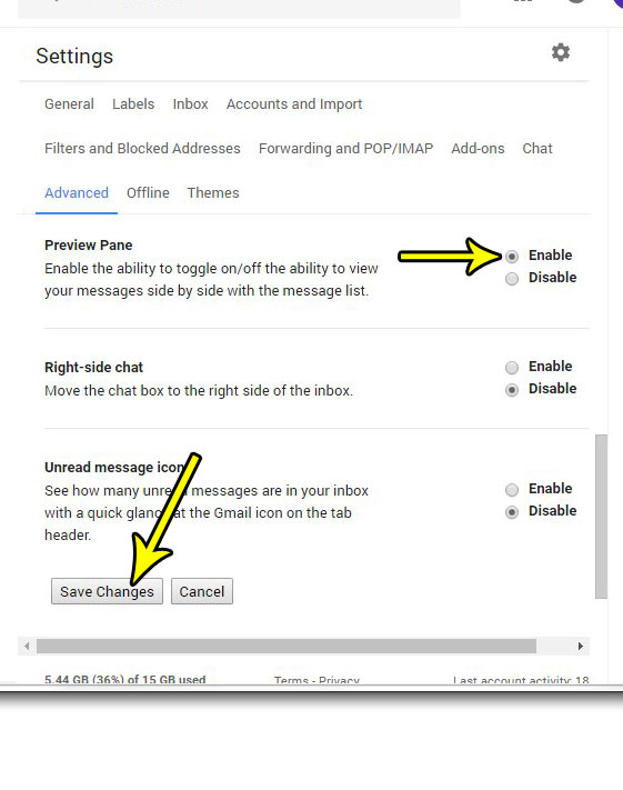 how enable preview pane gmail